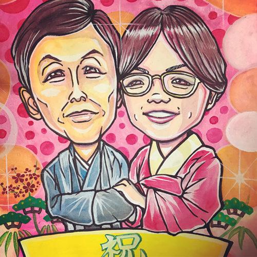 夫婦の似顔絵