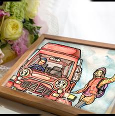 車と男女のイラスト